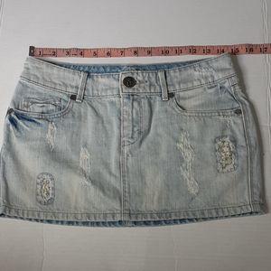 Decree Women's White Distressed Jean Skirt Size 3